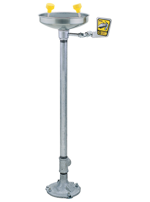 free standing eye wash station on a gray metal pole.